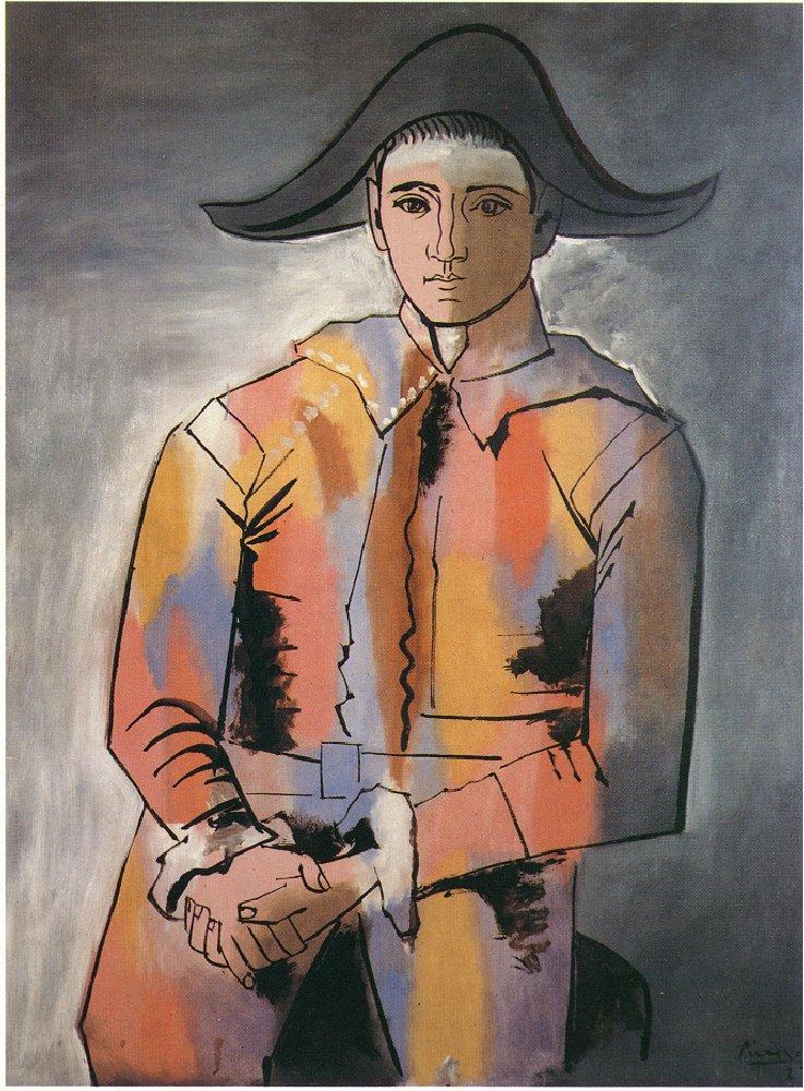 Пабло Пикассо «Арлекин со скрещенными руками (Хасинто Сальвадо)» 1923  Музей Людвига в Кёльне. Холст, масло.