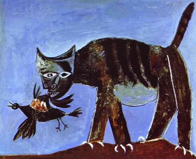 Пикассо, Кошка схватившая птицу (1939) Холст, масло. 81 х 100 см. Музей Пикассо, Париж.