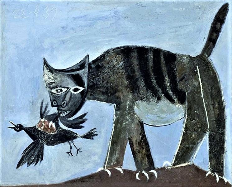 Пикассо, «Кошка схватившая птицу» (1939) Холст, масло. 81 х 100 см. Музей Пикассо, Париж.