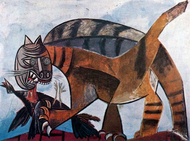Пикассо Кошка, пожирающая птицу 1939