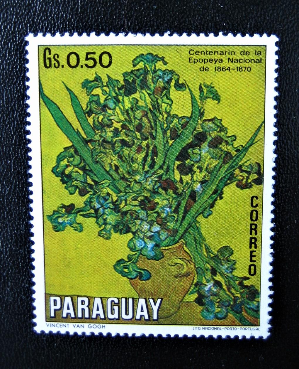 "Марка Парагвай выпущена в  1970-11-26 из серии ""Картины цветов"" номер по каталогу Mi:PY 2097, Sn:PY 1300, Yt:PY, на марке картина Винсента Ван Гога ""Ирисы"", номинал — 0,50 Gs"