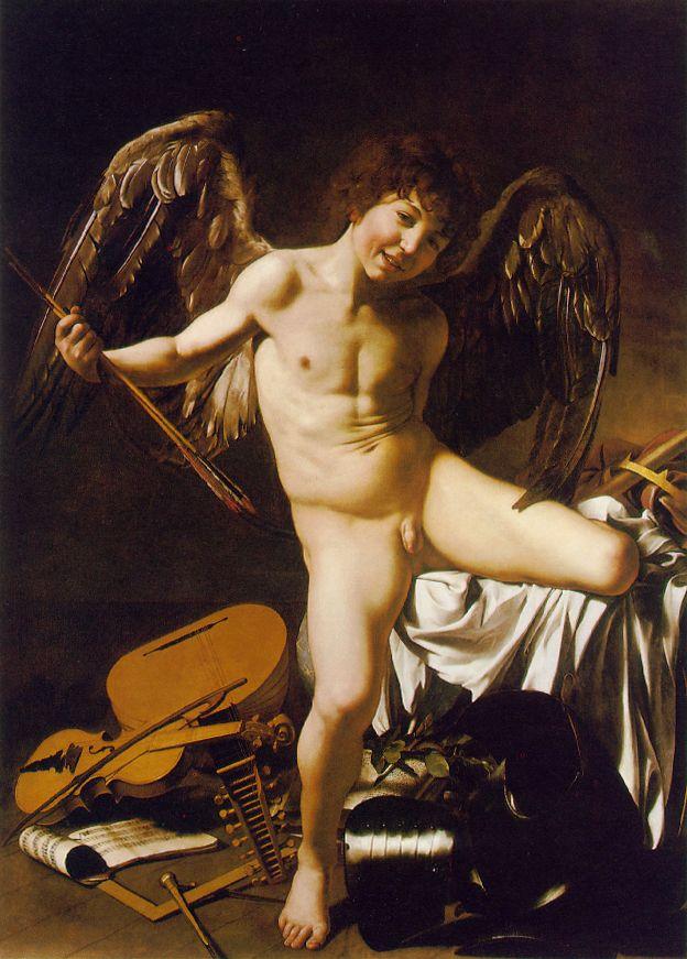 """Картина """"Амур-Победитель"""", автор — Караваджо, 1602, стиль: Барокко, Тенебризм, Жанр: мифологическая живопись , масло, холст, находится: Берлинская картинная галерея, размеры: 156 x 113 см"""