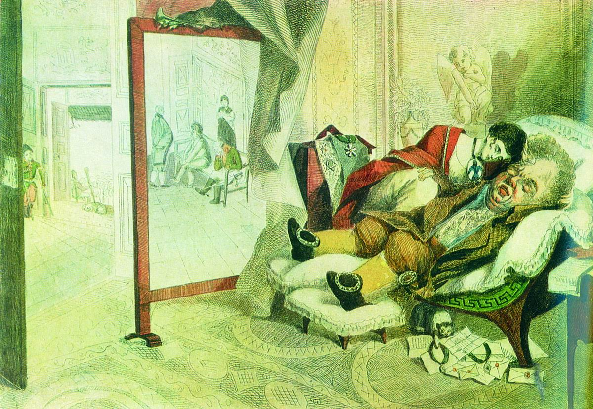 Венецианов Алексей карикатура «Вельможа» 1808
