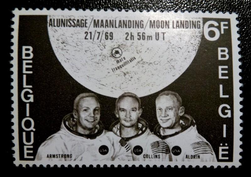 """Марка Бельгии  1969-09-20 из серии """"Астронавты высадившиеся на Луне""""  первые люди на Луне №Mi:BE 1565, Sn:BE 726, Yt:BE 1508, Sg:BE 2128, AFA:BE 1582, Bel:BE 1508, номинал- :6 fr"""