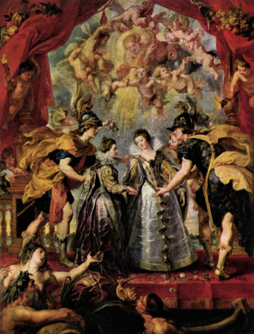 Картина Рубенса «Обмен принцессами»  9 ноября 1615 года. Галерея Медичи в Лувре материал холст, масло размер 394x295 Музей