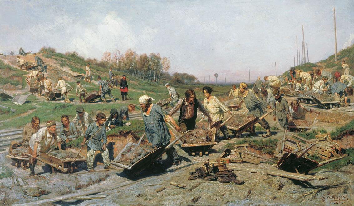 Ремонтные работы на железной дороге - Константин Аполлонович Савицкий. 1874. Холст, масло. 103 x 180,8 см