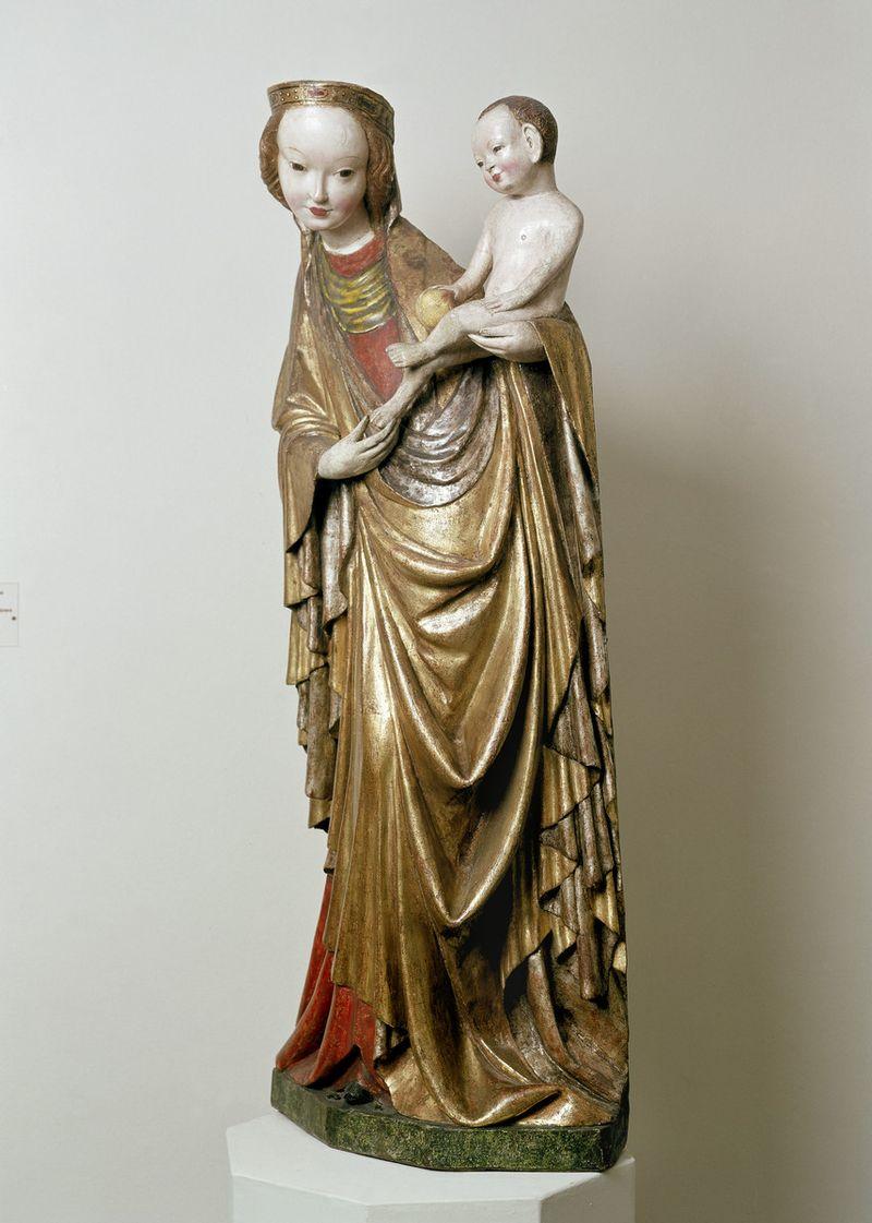 """""""Прекрасная Мадонна из Кружлёва"""", местонахождение: Краков, около 1410 г., Краков, Национальный музей в Кракове, Высота: 118 см"""