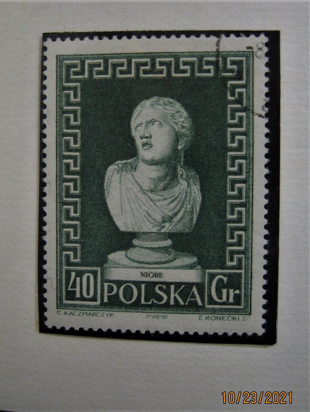 марка Польши 1956-11-19 из серии «Неделя международных музеев (ЮНЕСКО)» изображена «Скульптура умирающей Ниобы», № Mi:PL 990, Sn:PL 746, Yt:PL 878, Sg:PL 984, AFA:PL 880, Pol:PL 837, номинал — 40 gr