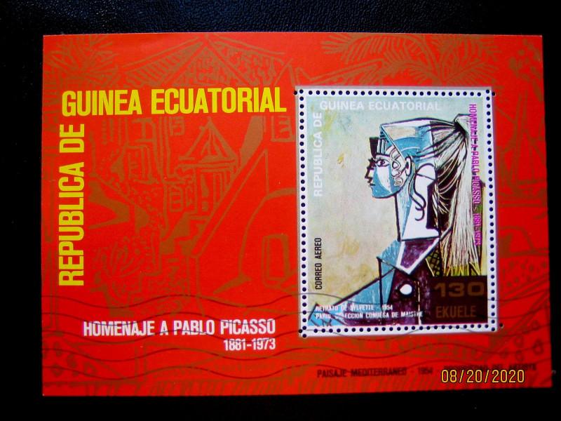 Блок - Экваториальная Гвинея «Портрет Сильветт Давид в зеленом кресле»» Пабло Пикассо.
