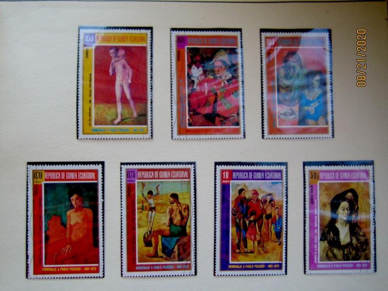 Серия из 7 марок. Экваториальная Гвинея,  1974г. посвященная памяти Пабло Пикассо.