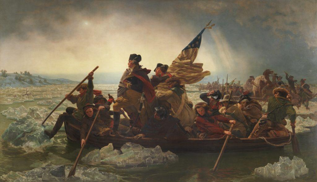 """Эмануэль Лойце, """"Вашингтон, пересекающий Делавэр"""" (1851 г.). Предоставлено Художественным музеем Метрополитен"""
