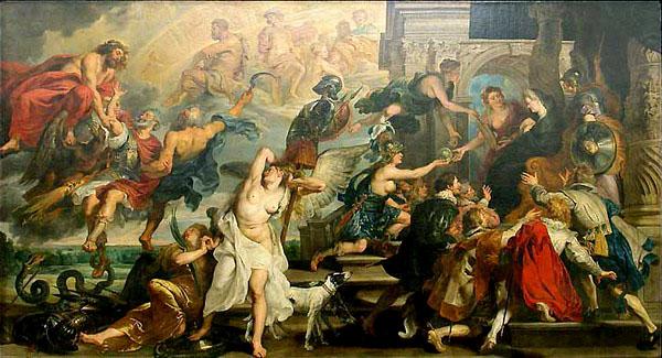 Питер Пауль Рубенс. Апофеоз Марии Медичи. Из цикла ''Жизнь Марии Медичи''. 1622 - 1625. Лувр