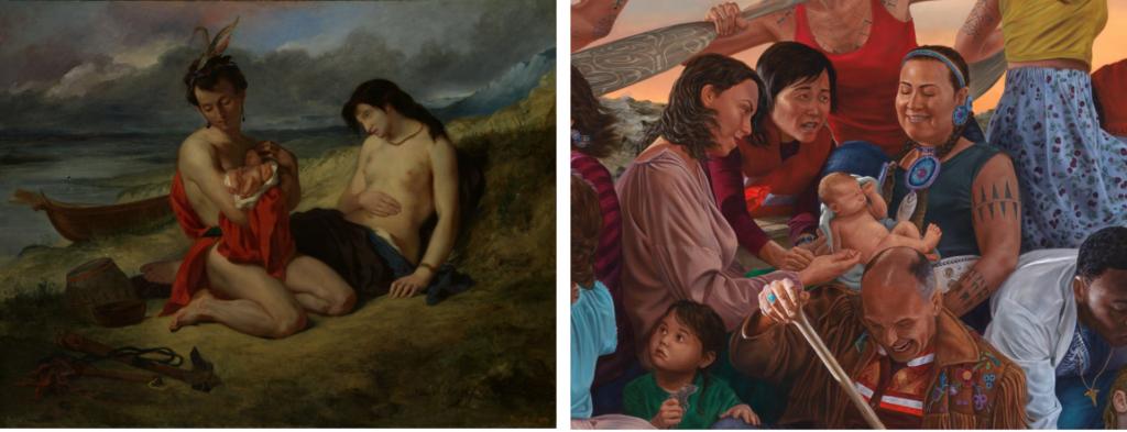 """Фрагмент из картины «Натчез» Делакруа (1823-24 и 1835) вдохновил на эту деталь Кента Монкмана в """"Возрождении народа"""" (2019). Предоставлено Музеем искусств Метрополитен."""