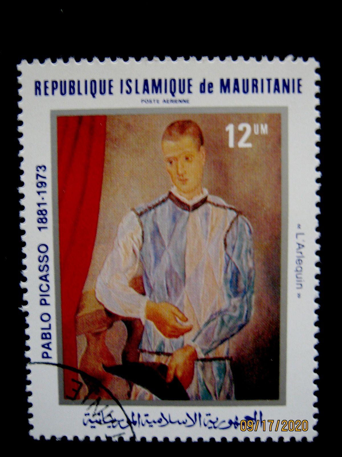 Марка 1981-06-29 Мавритания (Исламская Республика Мавритания), номиналом: 12 кхумов (um)—  «Арлекин» Пабло Пикассо, Mi:MR 721, Sn:MR C207, Yt:MR PA204, Sg:MR 695.