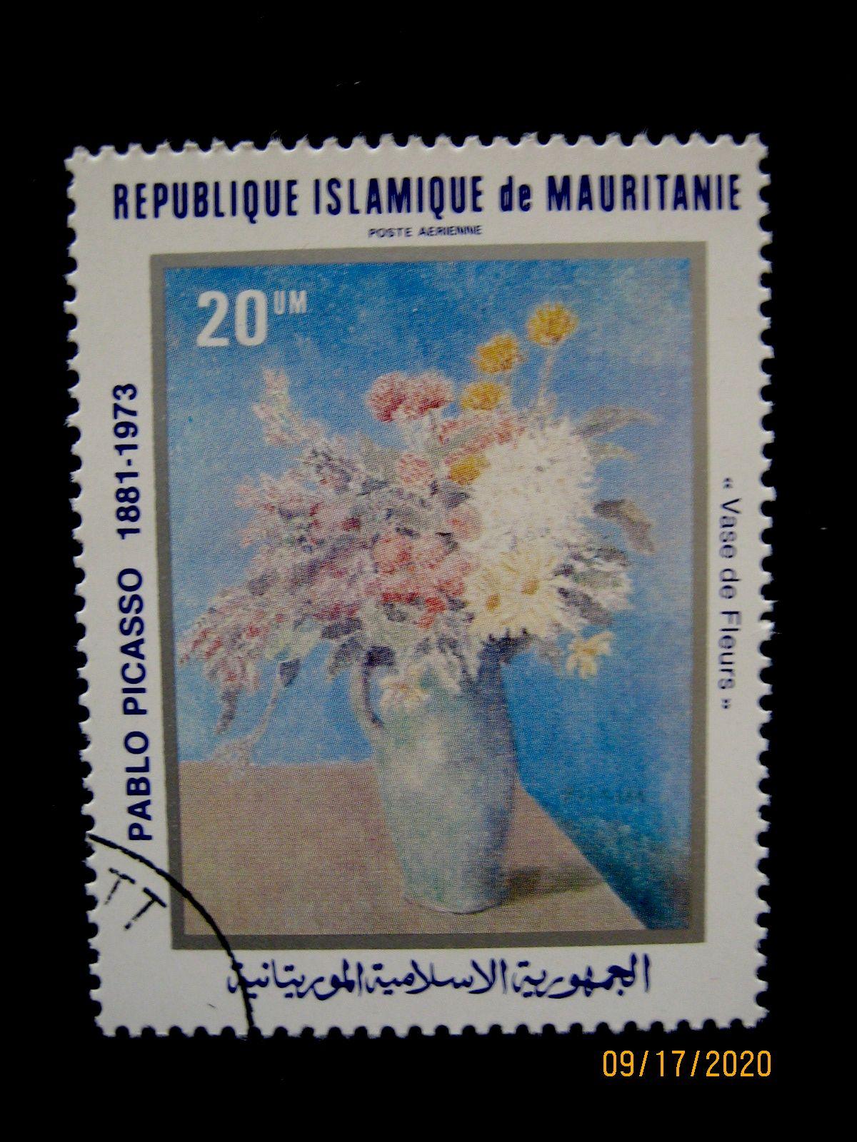 Марка 1981-06-29 Мавритания (Исламская Республика Мавритания), номиналом: 20кхумов (um)—  Пабло Пикассо «Ваза с цветами» Mi:MR 722, Sn:MR C208, Yt:MR PA205, Sg:MR 696