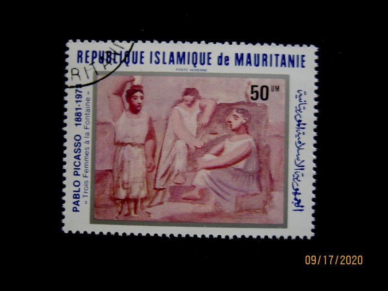 Марка 1981-06-29 оминал- Мавритания (Исламская Республика Мавритания), номинал — 50 кхумов (um) «Три женщины у фонтана» Пабло Пикассо. Мавритания Mi:MR 723, Sn:MR C209, Yt:MR PA206, Sg:MR 697