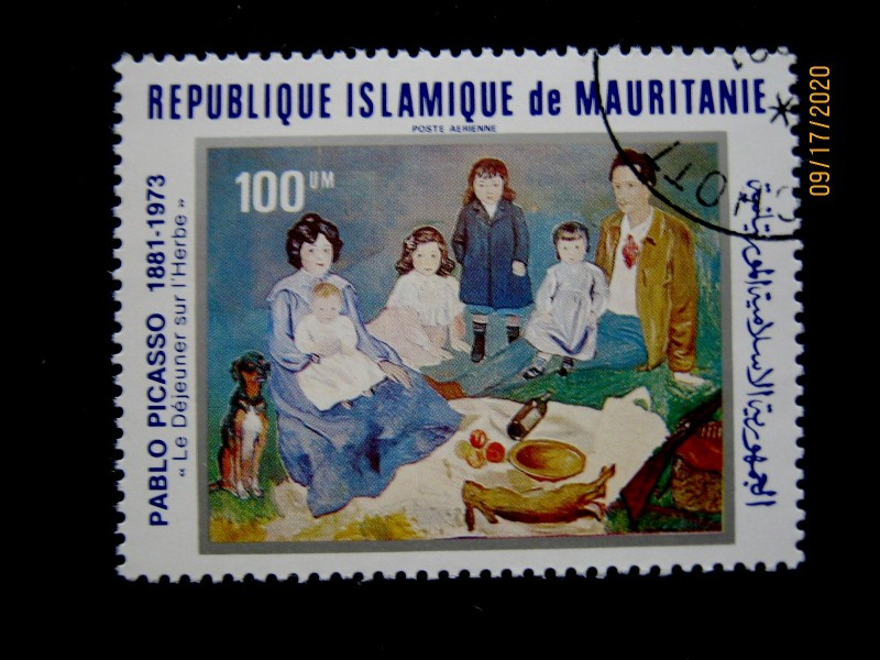 Марка 1981-06-29 Мавритания (Исламская Республика Мавритания) номиналом: 100 кхумов (um)—  Пабло Пикассо «Семейный обед Солер на траве» Mi:MR 725, Sn:MR C211, Yt:MR PA208, Sg:MR 699