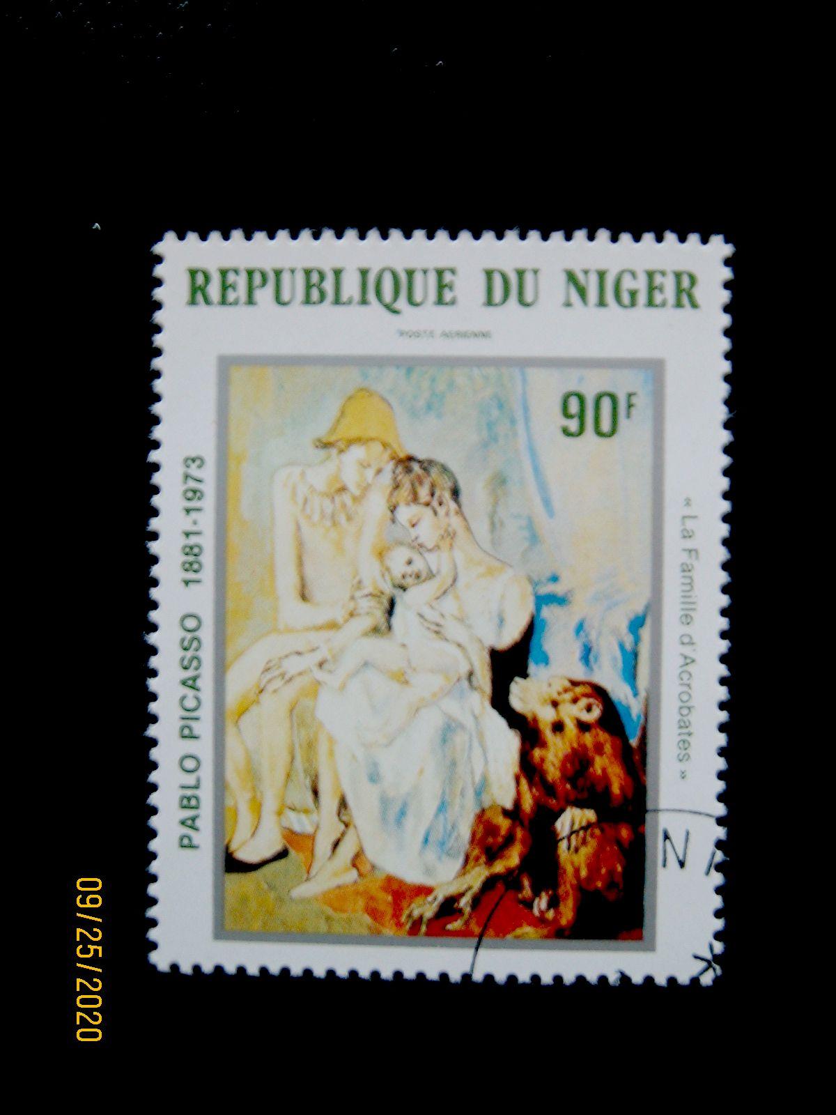 Марка - 90 фр. —   «Семья акробатов с обезьяной» Пабло Пикассо (1905) Нигер