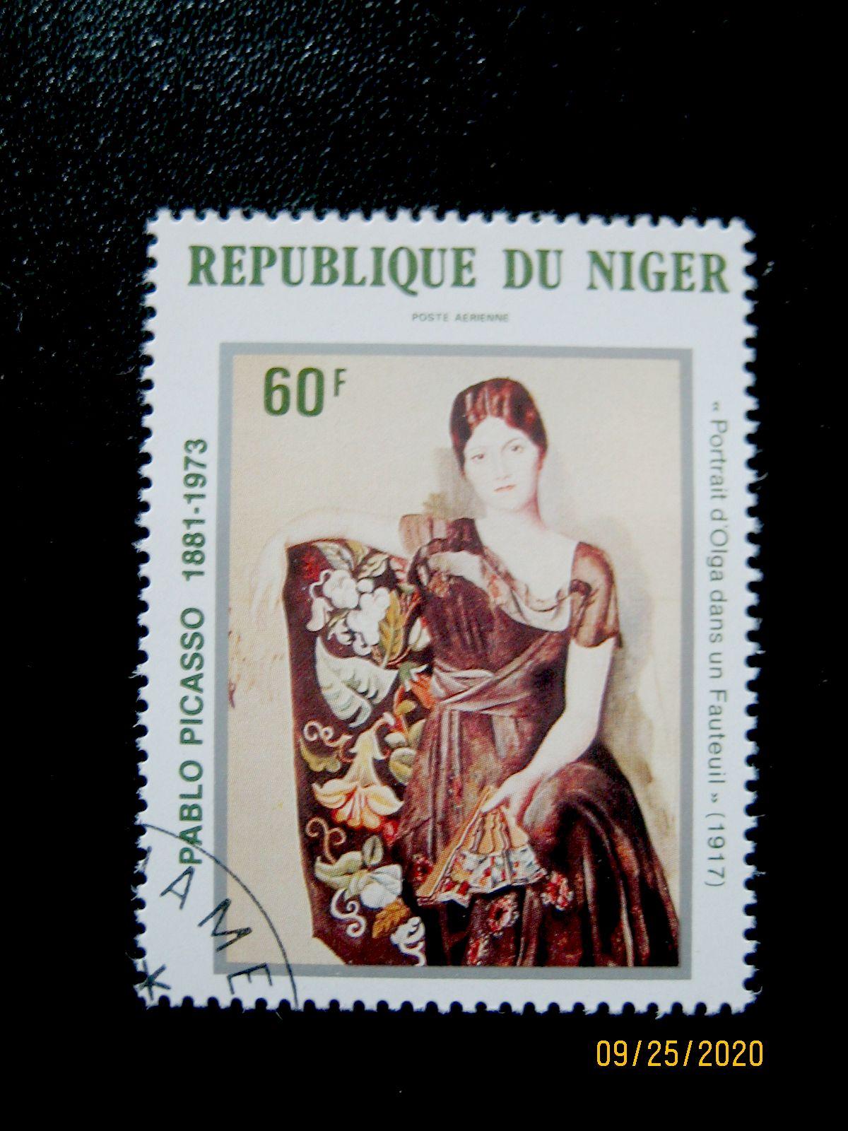 Марка - 60 фр. —   «Портрет Ольги в кресле» Пабло Пикассо (1917) Нигер