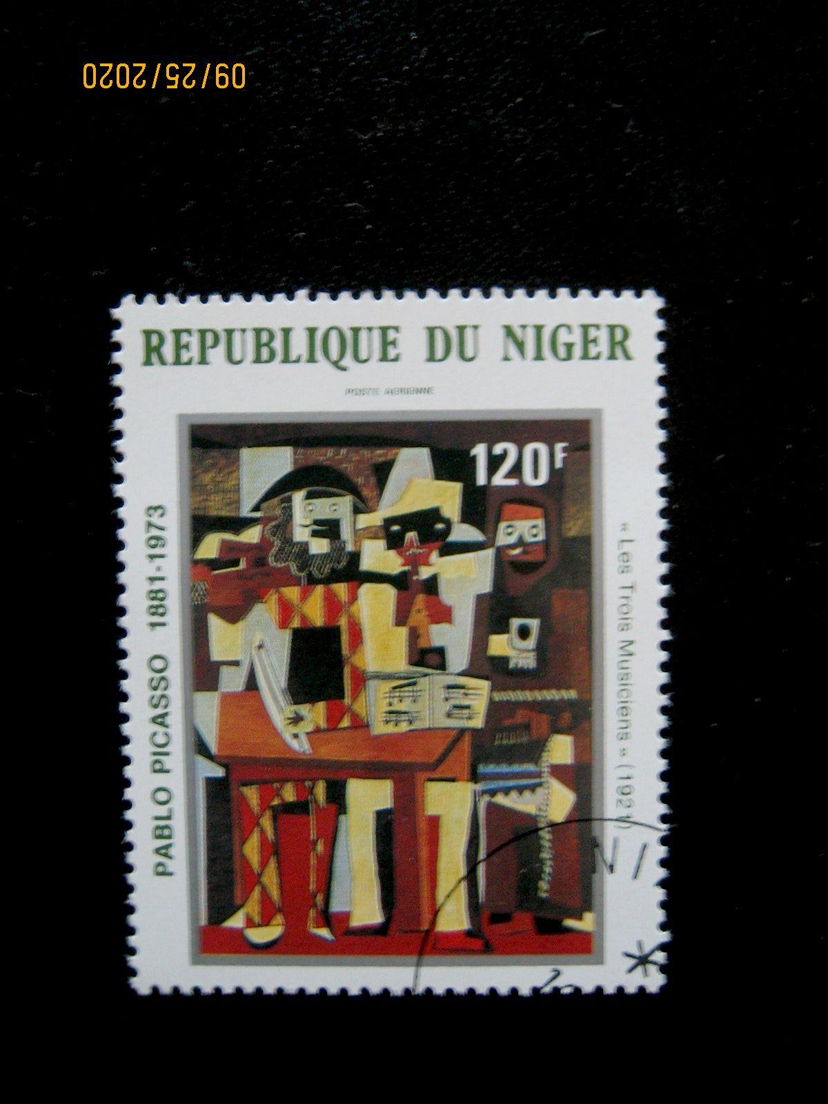Марка - 120 фр. —   «Три музыканта» Пабло Пикассо (1921) Нигер