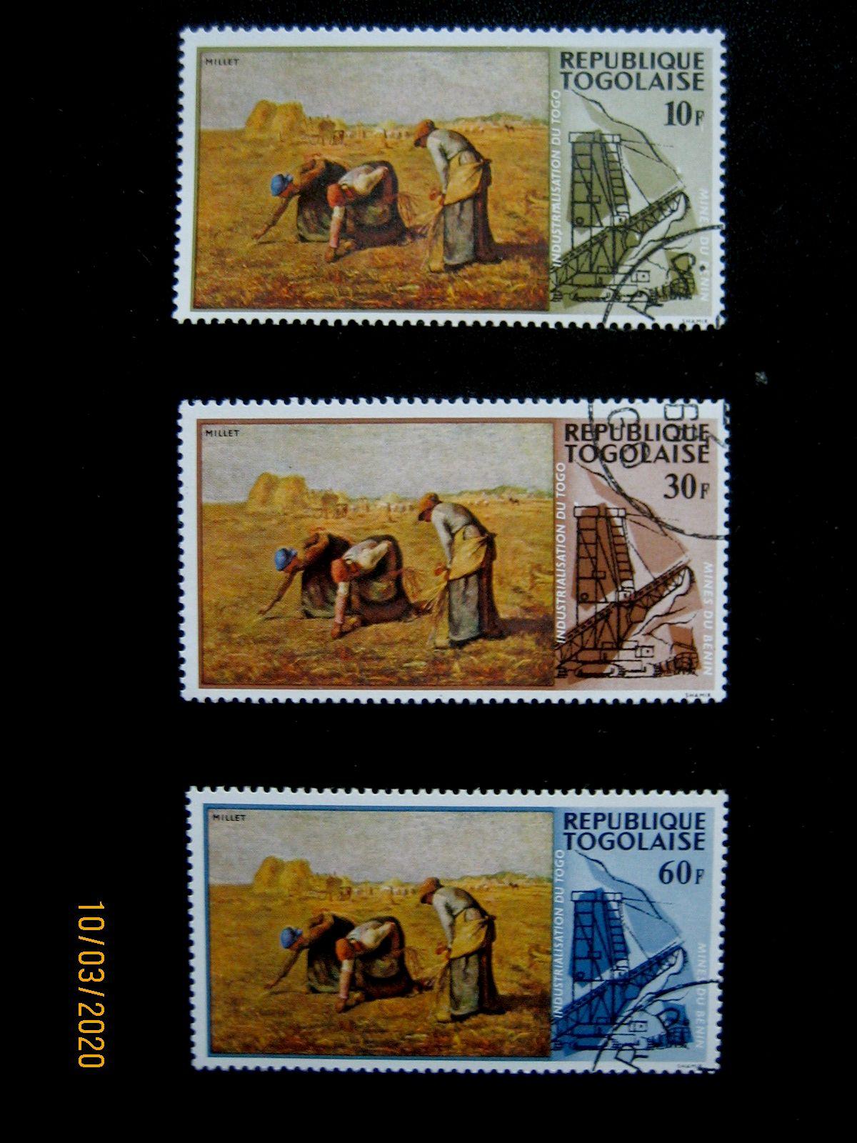 Три марки «Собиратели» Франсуа Милле и Phosperous Works, Номинал — 10 фр. Mi:TG 635, Sn:TG 631, Yt:TG 560 Номинал — 30 фр. Mi:TG 637, Sn:TG 633, Yt:TG 562 Номинал — 60 фр. Mi:TG 639, Sn:TG 635, Yt:TG 564