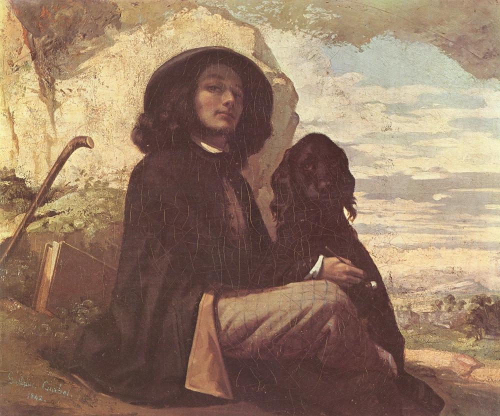 """""""Автопортрет с черной собакой"""" Гюстав Курбе56 × 46 см Местонахождение: Пети-Пале, Париж."""