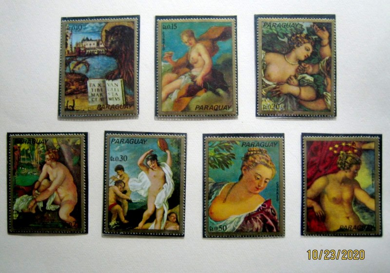 серия марок Парагвая 1973г. «Картины Венеции»  Михель: № 2512/16