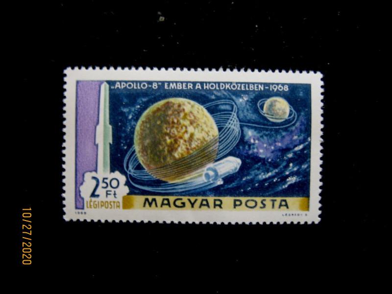 марка Венгрия 1969 года «Аполлон–8», номиналом — 2.50 форинта, (Michel № 2552 B).
