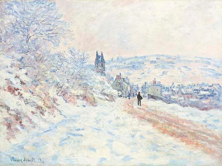 Клод Моне. «Дорога в Ветёй, эффект снега», 1879, 61.3 × 81.6 см Частная коллекция.