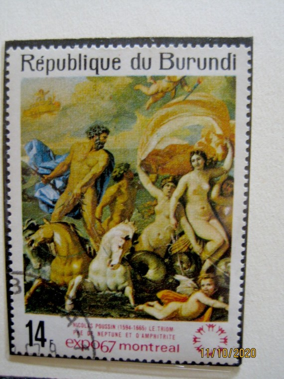 Бурунди, 1967 год, марка номиналом — 14 франков, Пуссен, «Посейдон и Амфитрит», из серии «Экспо 67»