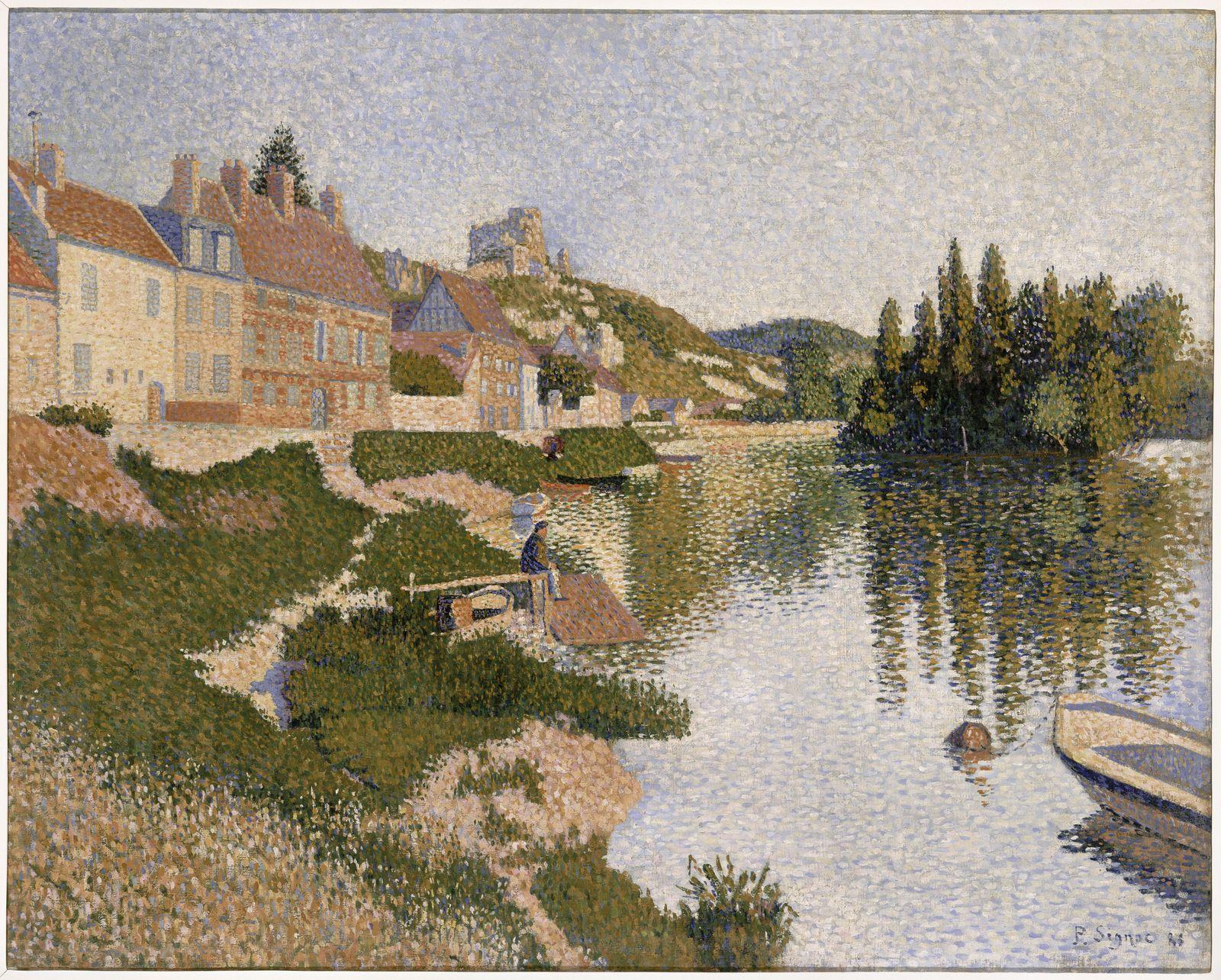«Берег реки, Лез Андели» 1886, Поль Синьяк музей Орсе, Париж, 65.3 x 81.5 см
