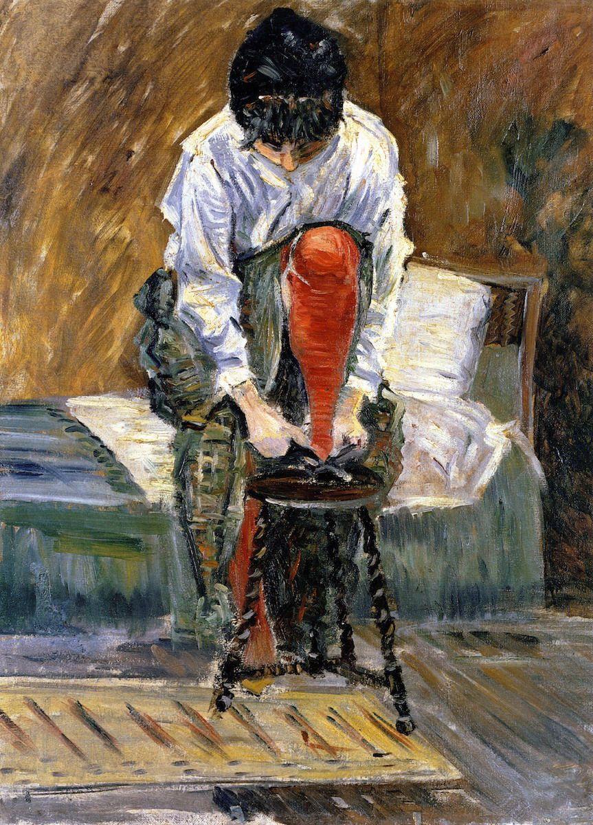 Красный чулок, Поль Синьяк, 1883 частная коллекция, 61 x 46 см