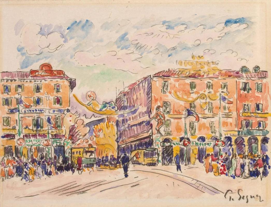 Городская площадь Поль Синьяк, 1925, 22.8 × 29.7 см Государственный Эрмитаж, Санкт-Петербург