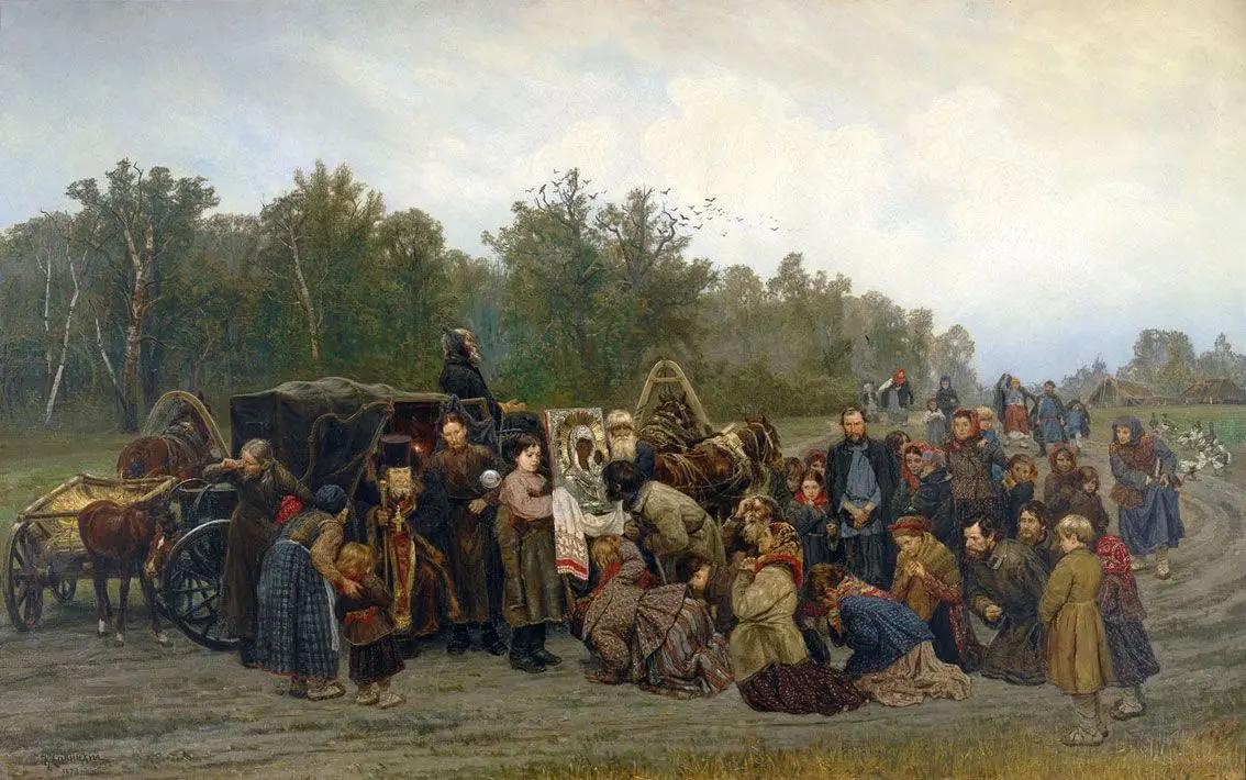 Встреча иконы, Константин Аполлонович Савицкий, 1878, Государственная Третьяковская галерея, Москва