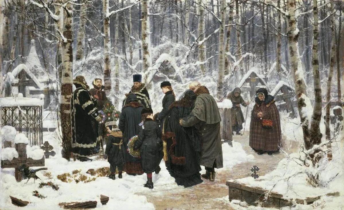 Панихида к 9-му дню на кладбище, Константин Аполлонович Савицкий, 1885, Государственная Третьяковская галерея, Москва