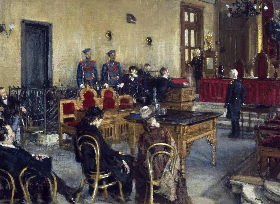 В ожидании приговора, Константин Аполлонович Савицкий, 1895, Государственная Третьяковская галерея, Москва