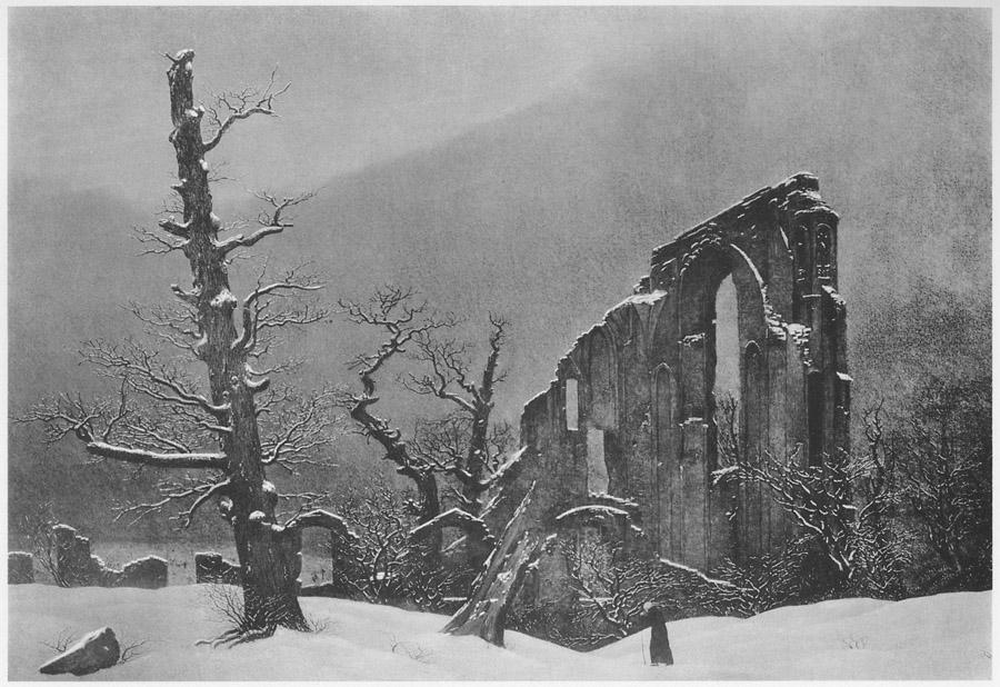 Зимний пейзаж с руинами
