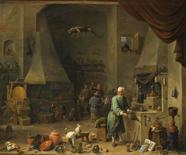 Давид Тенирс Младший. Алхимик в своей лаборатории. 1650.