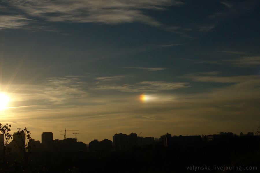 Паргелий с солнцем. Киев, 3 октября 2015 года.