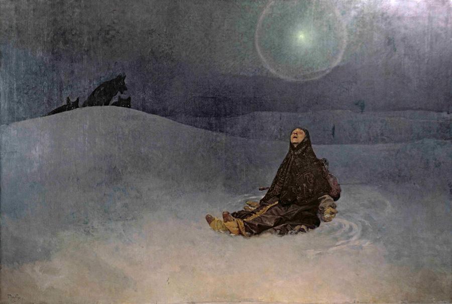 Альфонс Муха. Зимняя ночь. (Сибирь, Звезда). 1920/23.