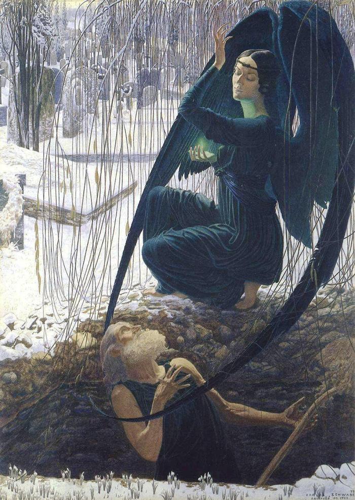 Карлос Швабе. Могильщик и Смерть. 1895.