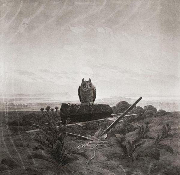 Пейзаж с совой, гробом и могилой