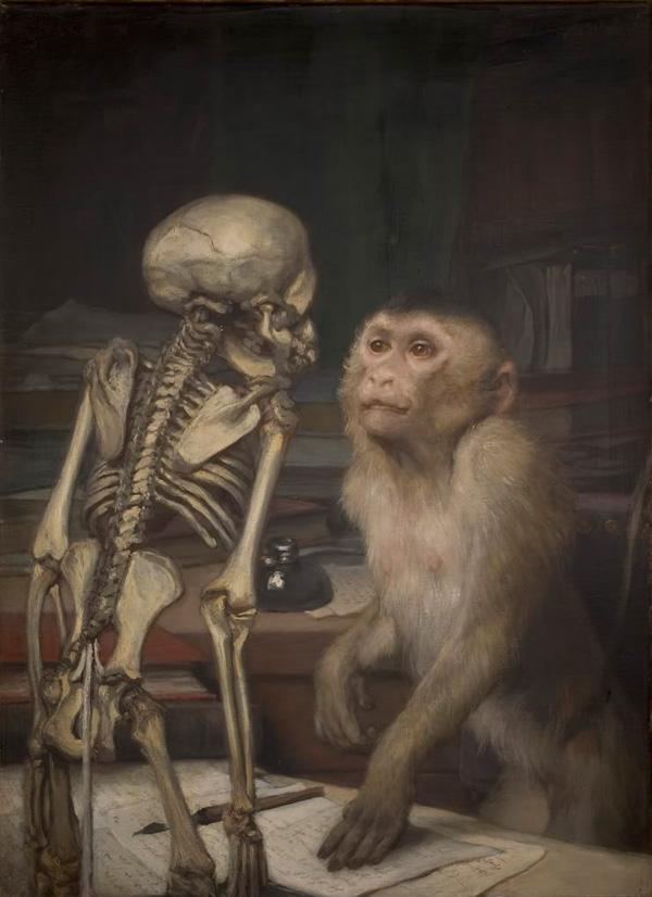 Габриель фон Макс. Обезьяна перед скелетом. 1900.