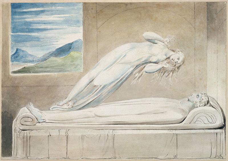 Уильям Блейк. Душа, парящая над телом. Иллюстрация к поэме «Могила»  шотландского поэта Роберта Блэра. 1805.