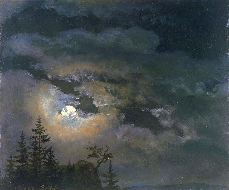 Юхан Кристиан Клаусен Даль. Облачное небо в лунном свете. Этюд. 1822.