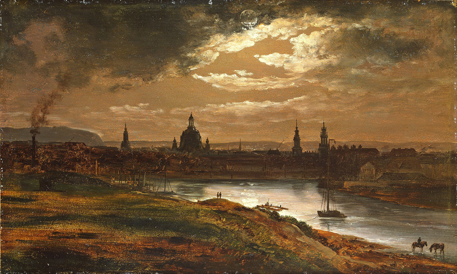 Юхан Кристиан Клаусен Даль. Вид на Дрезден в лунном свете. Этюд. 1838.