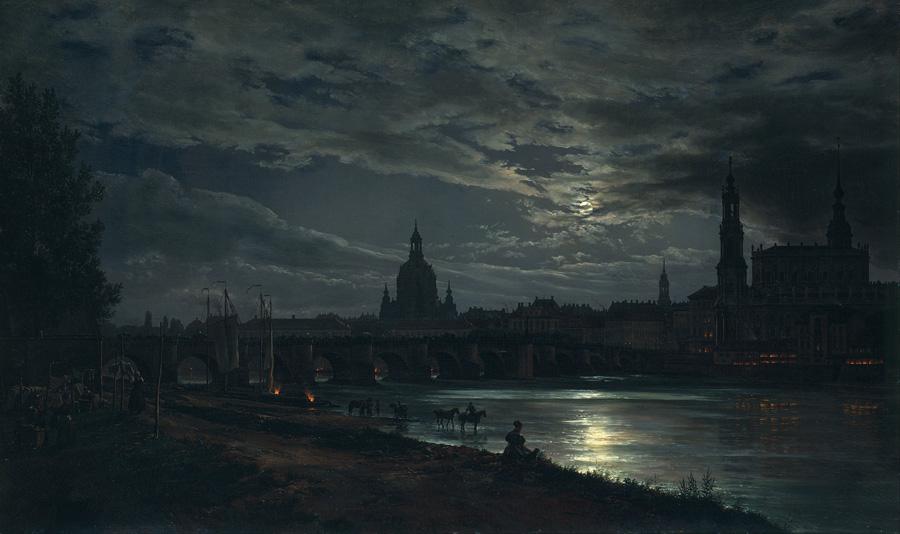 Юхан Кристиан Клаусен Даль. Вид на Дрезден в лунном свете. 1838.