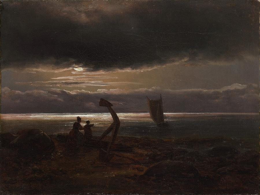 Юхан Кристиан Клаусен Даль. Мать и дитя на море. Этюд. 1830.