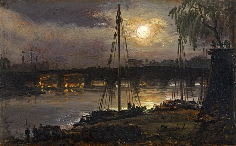 Юхан Кристиан Клаусен Даль. Дрезден в лунном свете. 1845.