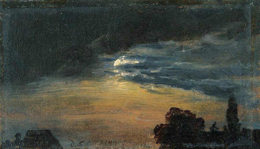Юхан Кристиан Клаусен Даль. Облака в лунном свете. Этюд. 1849.
